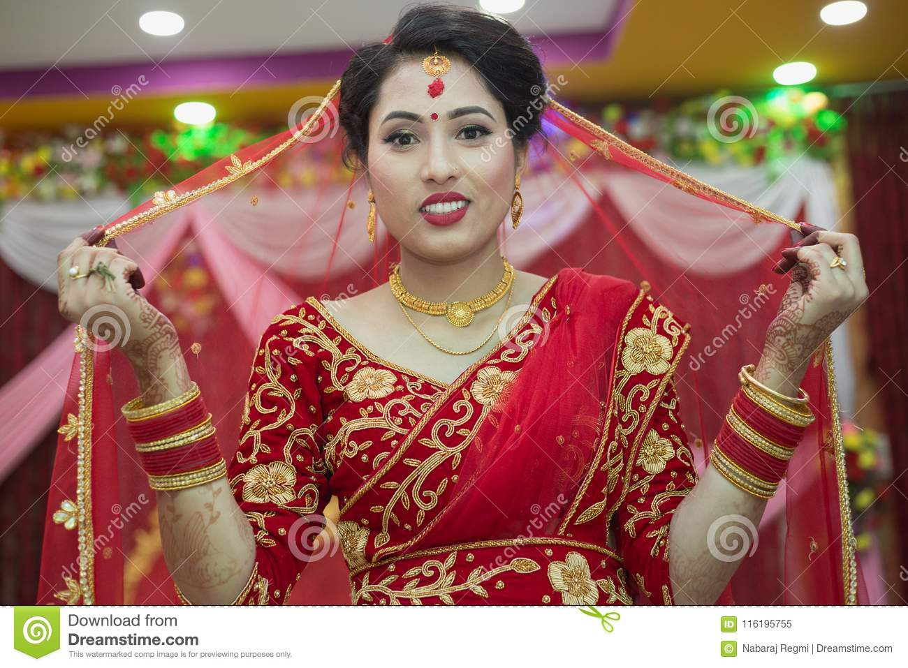 Beautiful Nepali Bride At Wedding Ceremony Editorial Image
