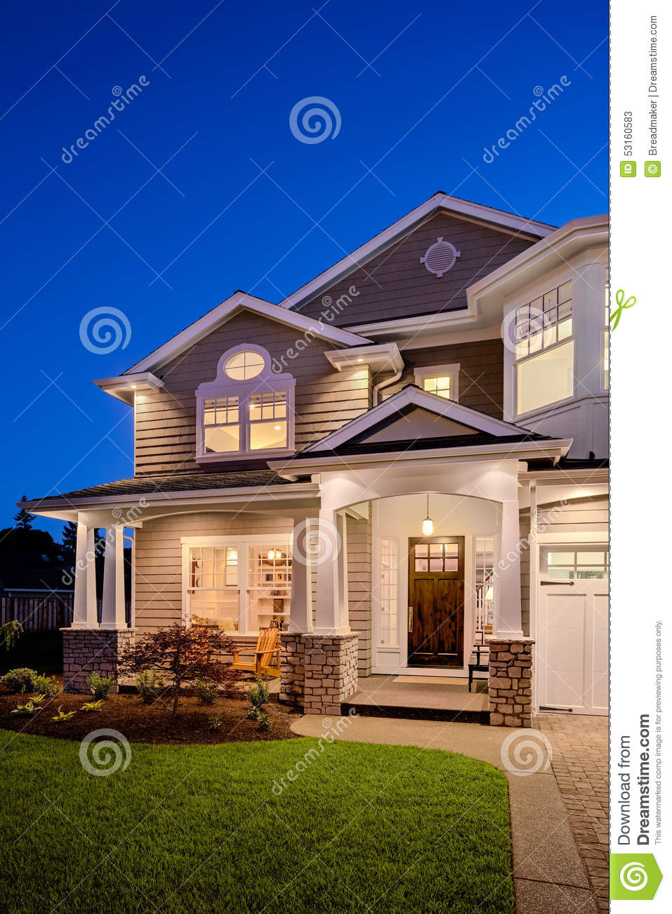 Beautiful Exterior Home Design Trends: Beautiful New England Style Home Exterior At Night With