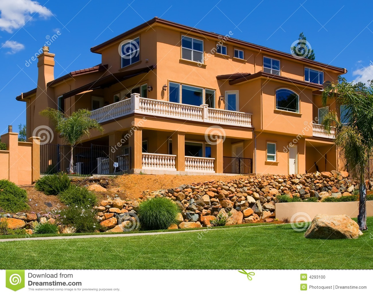 Beautiful new house stock photo image of grass property for New beautiful home