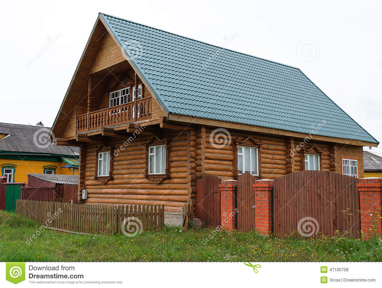 Wonderful image of Beautiful New Log House Stock Photo Image: 47100708 with #A0602B color and 1300x979 pixels
