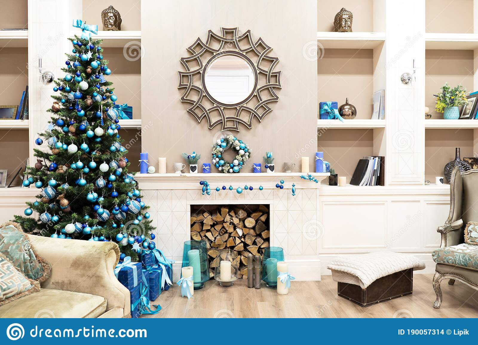 Beautiful New Year Interior With Christmas Tree In Corner White Commode And Decorated Mirror On Wall Sweet Home Stock Photo Image Of Beautiful Star 190057314
