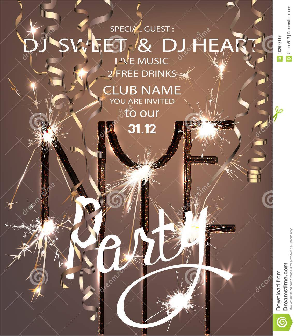 beautiful new year party banner with christmas tree brunew year eve party invitation card with sparklers