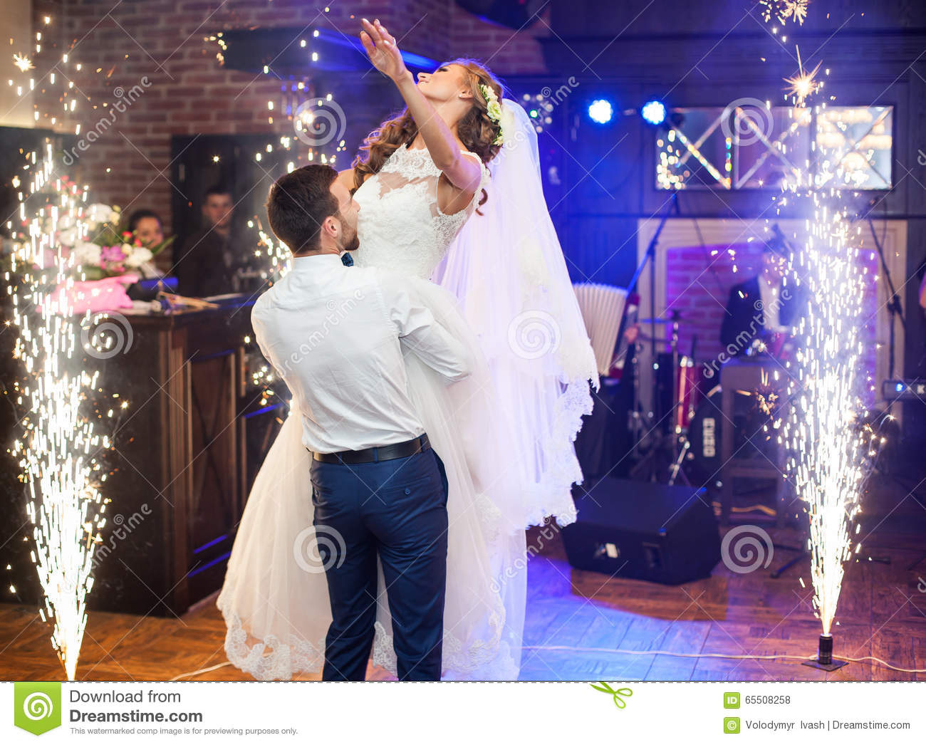 Beautiful newlywed couple first dance at wedding stock photo image beautiful newlywed couple first dance at wedding junglespirit Gallery
