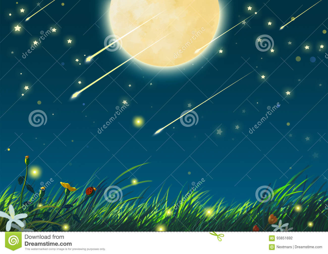 Beautiful Night With Big Moon And Shooting Stars Stock Illustration