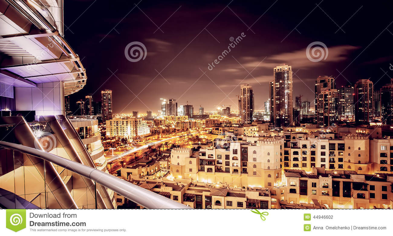 Beautiful night cityscape of dubai stock photo image for Luxury travel in dubai