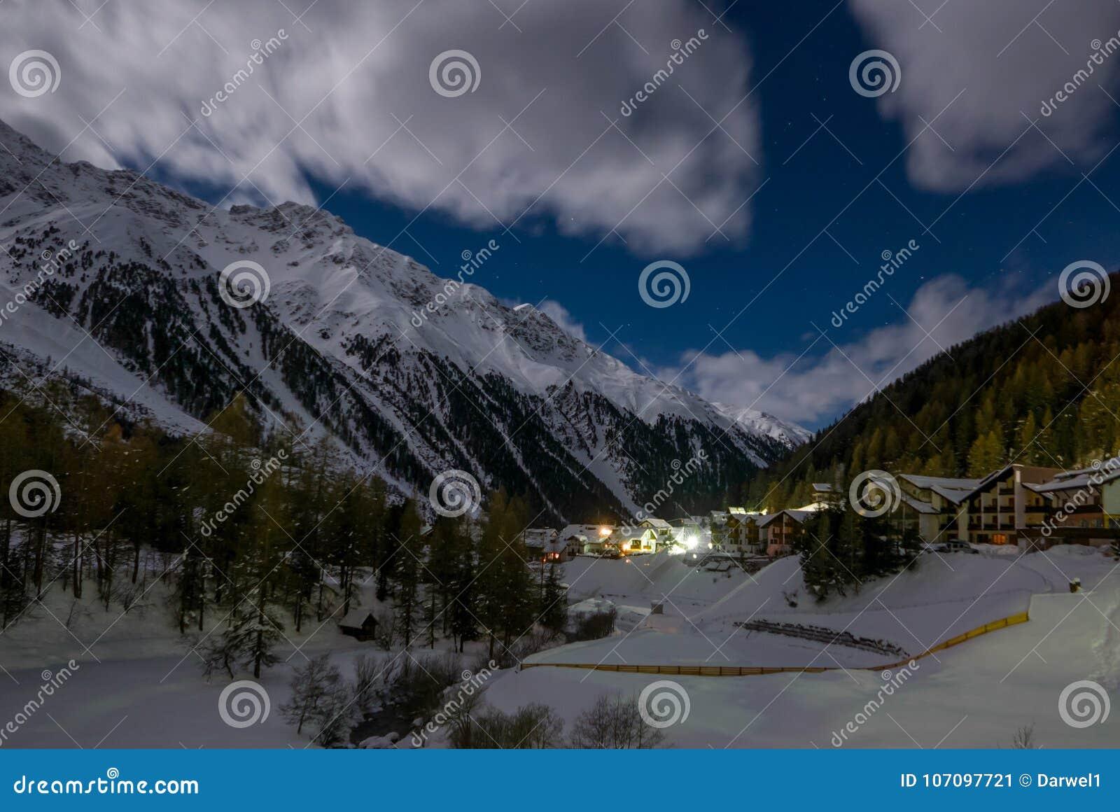 beautiful night scenery of popular ski resort solda sulden stock