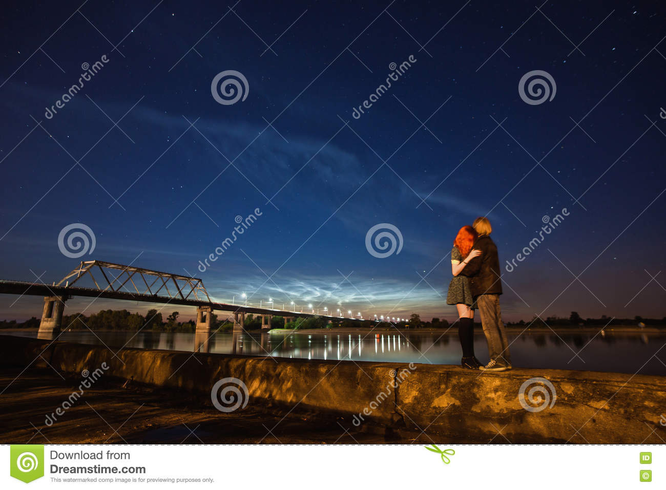 Download Beautiful Night Scenery The Stars In Sky A Couple On