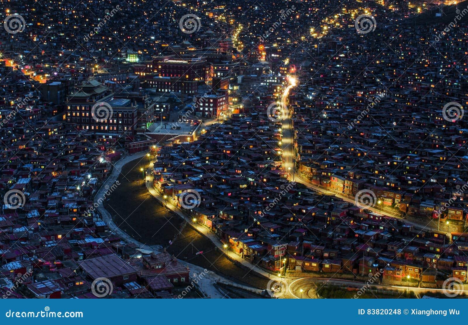 Beautiful night view of Buddhist Academy