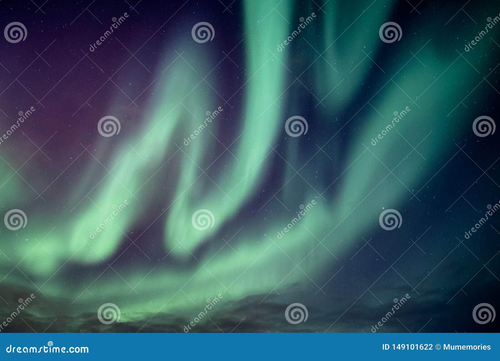 Beautiful northern lights or aurora borealis explosion