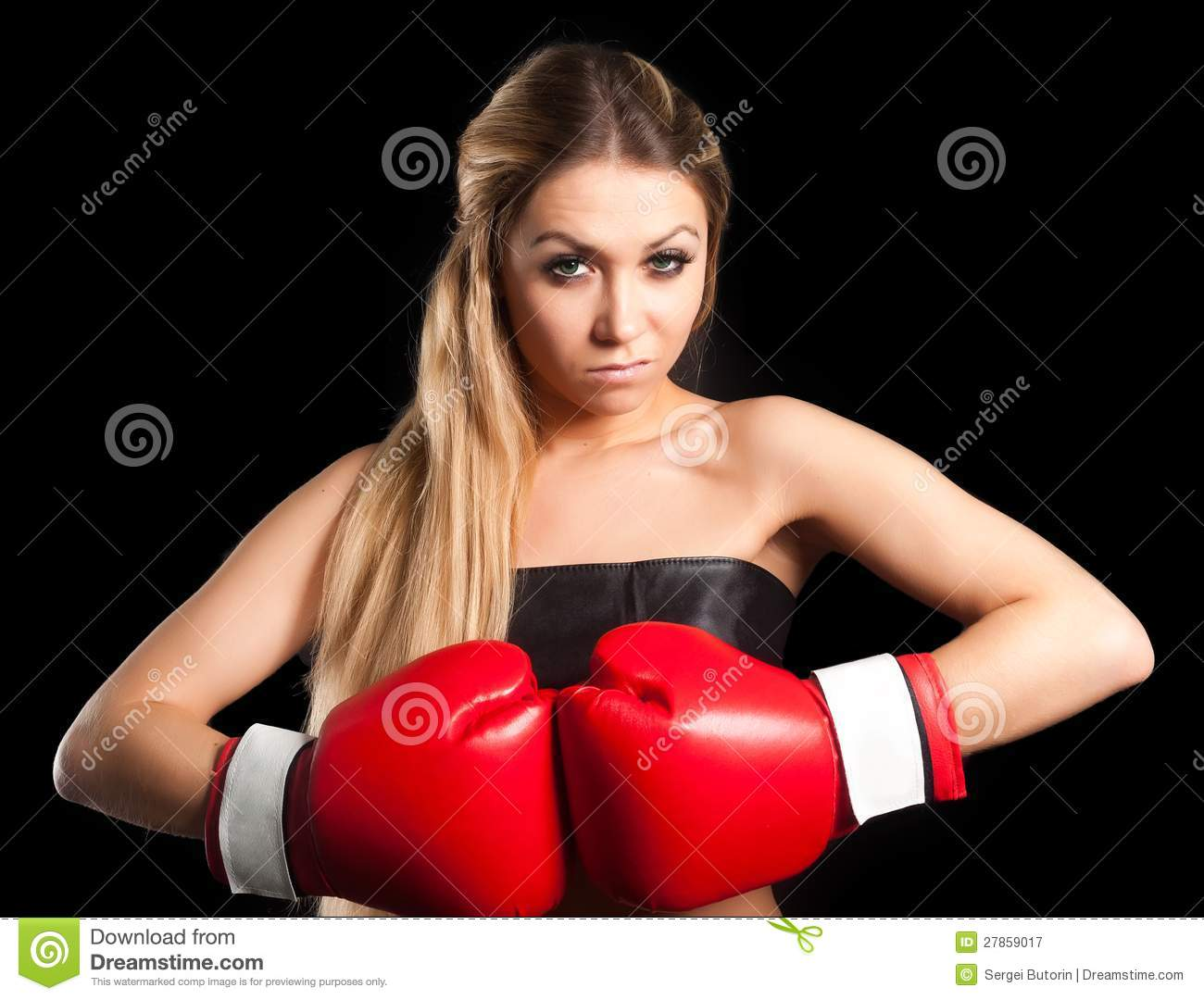 Brunette Topless Boxing Glove Stock Photos And Images
