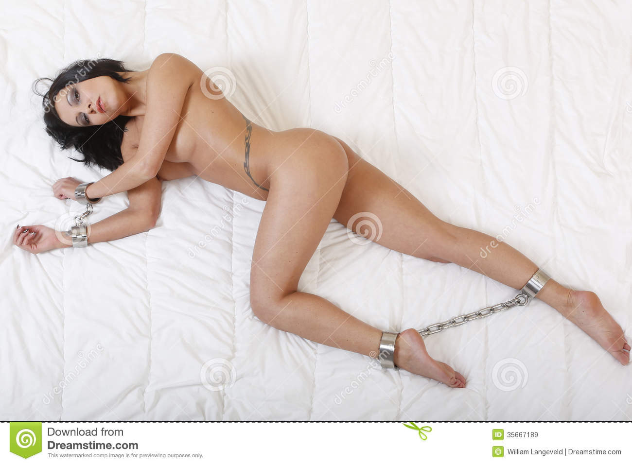 Beautiful Nude Or Naked Woman Handcuffed Stock Image -1057