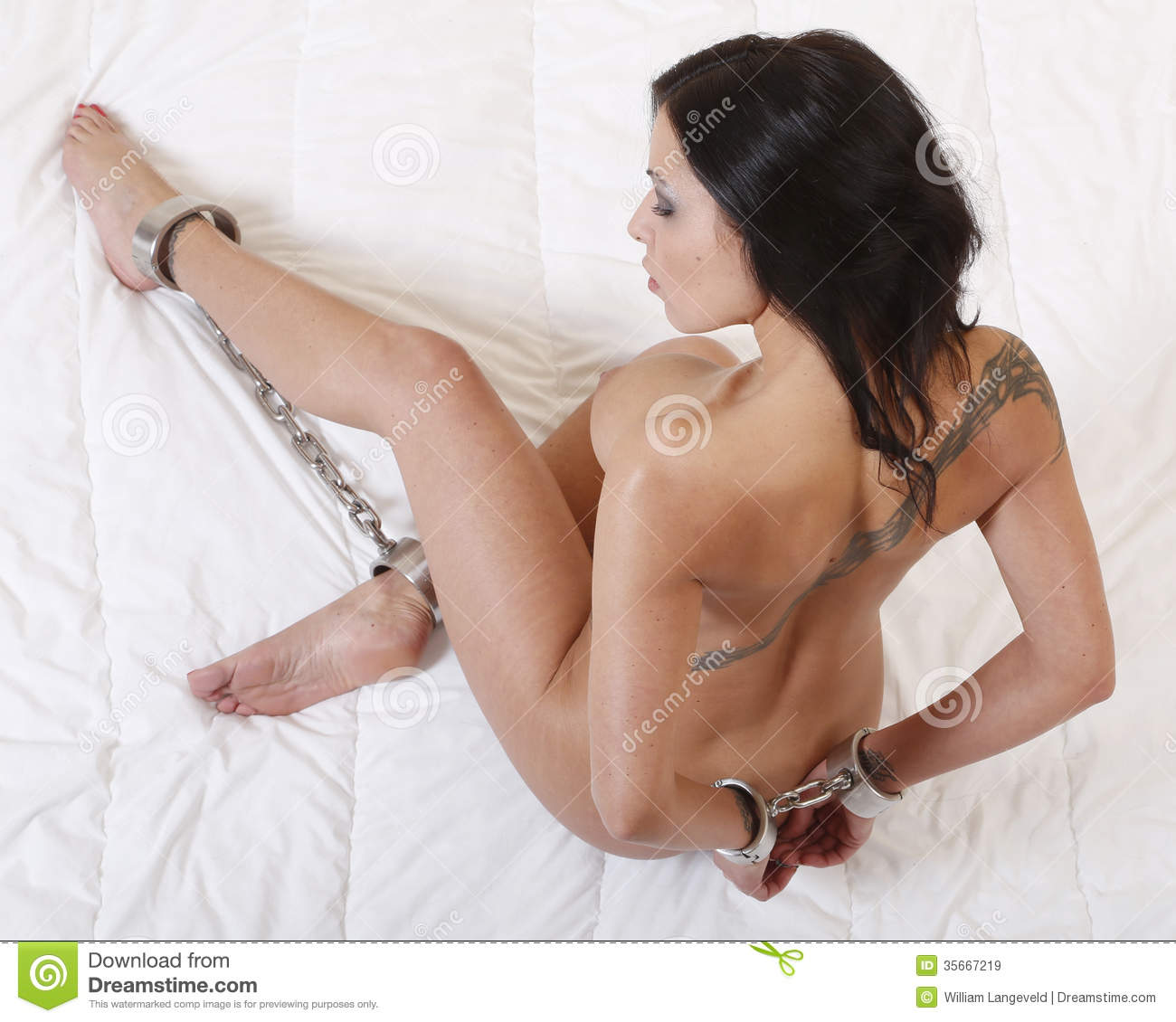 Beautiful Nude Or Naked Woman Handcuffed Stock Image -5425