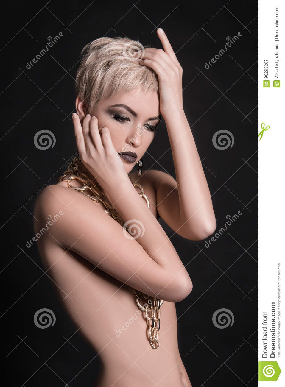 beautiful nude short hair woman stock image - image of head