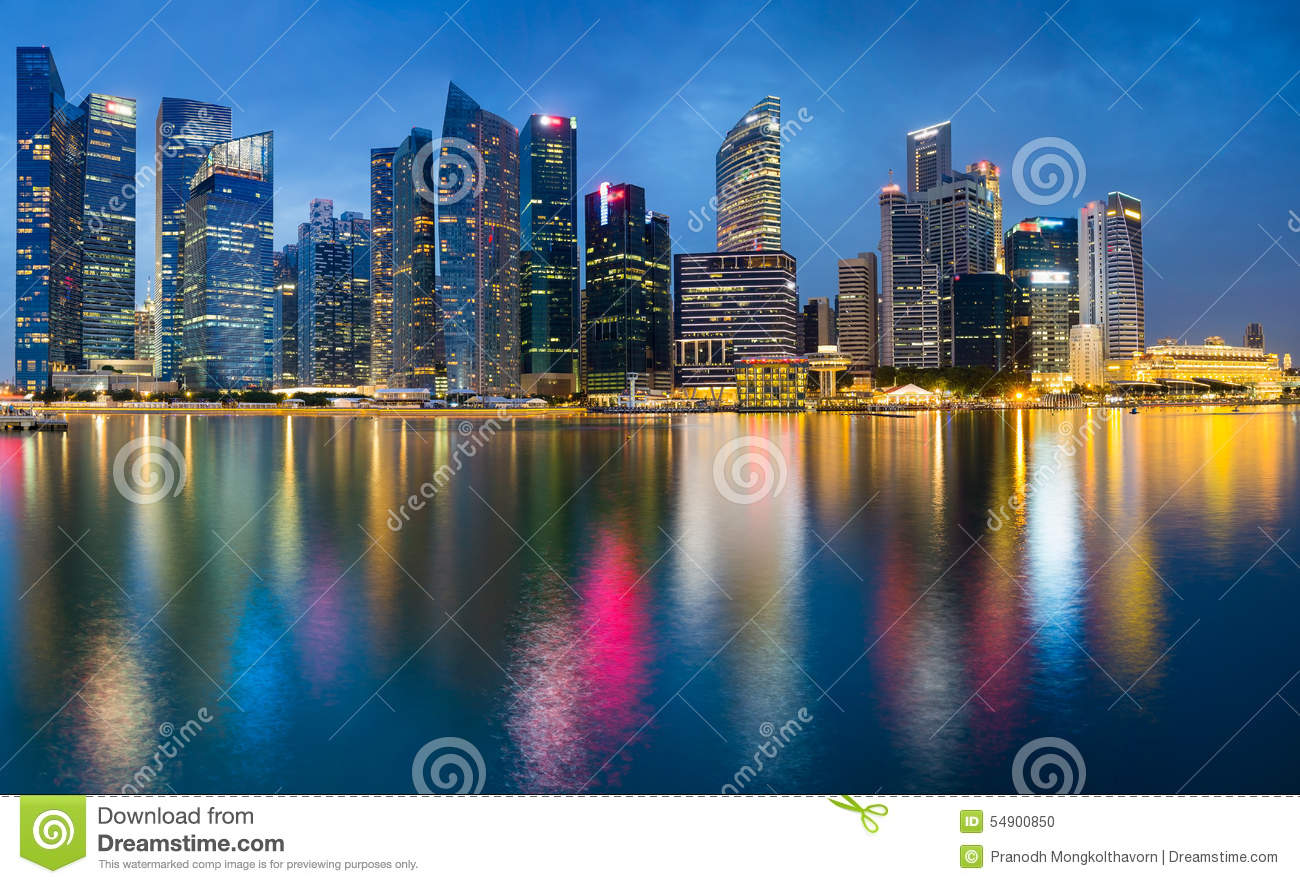 beautiful office building twilight with water reflection singapore beautiful office building