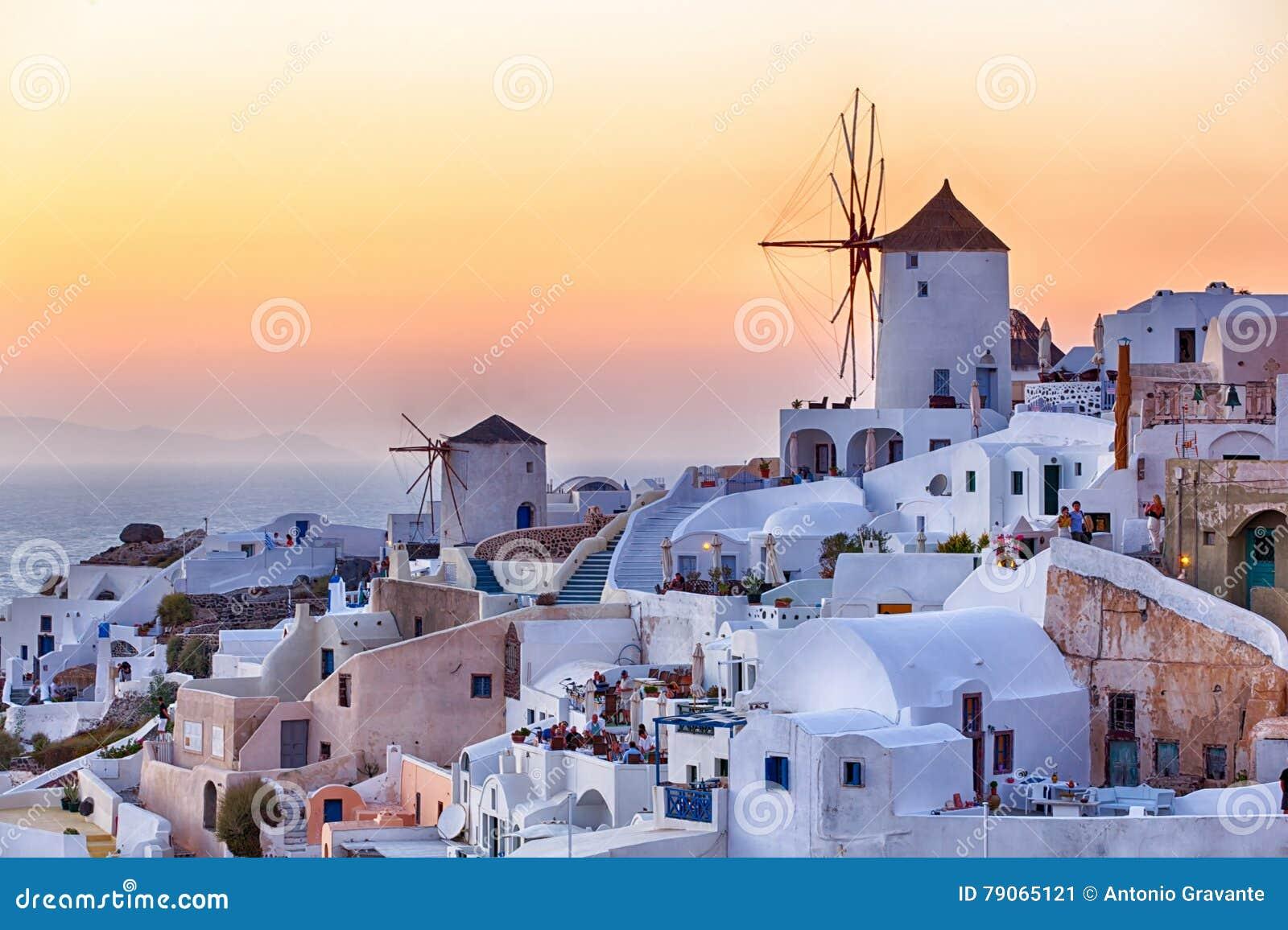 Beautiful Oia village at sunset in Santorini