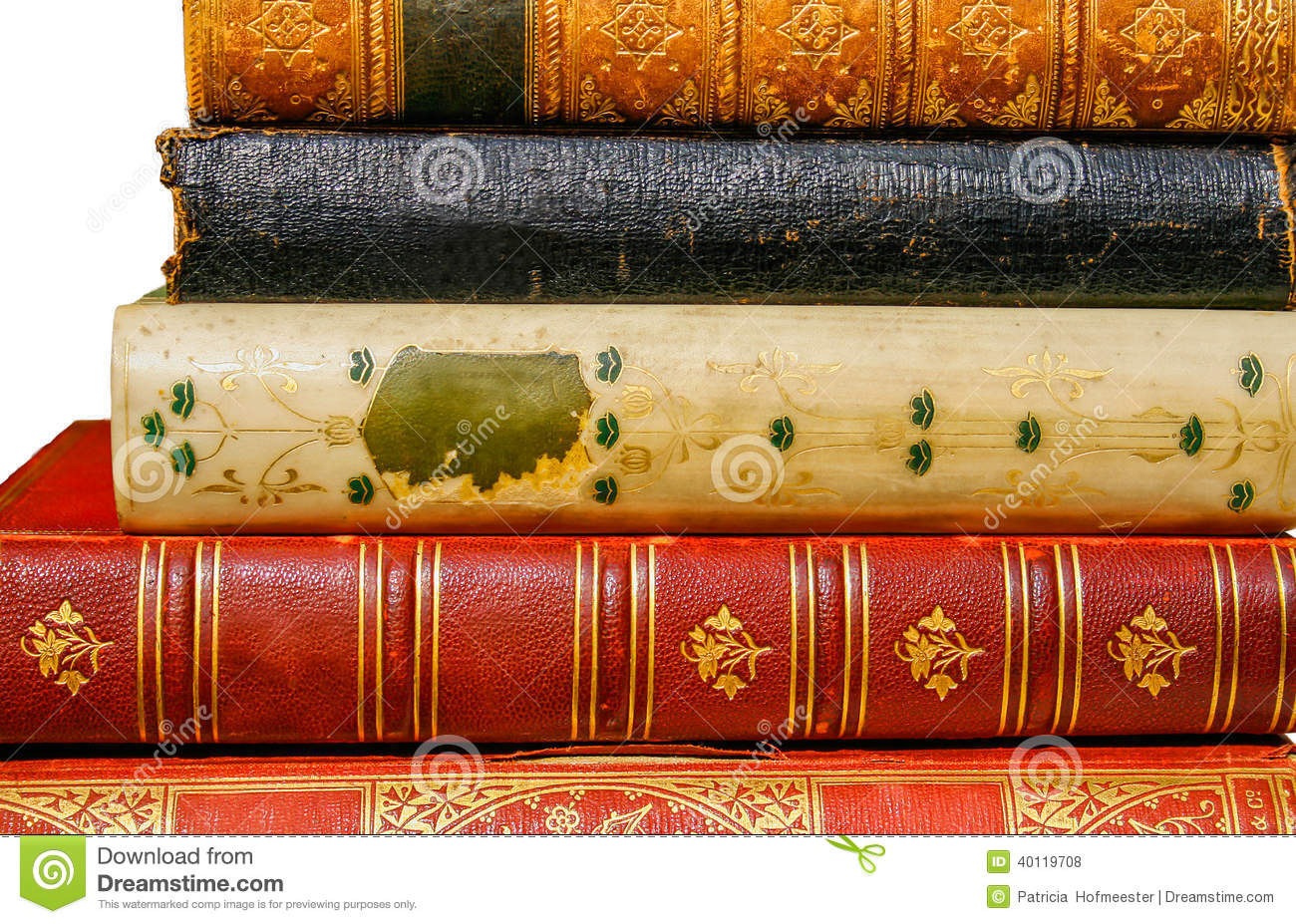 Beautiful Old Book Covers ~ Beautiful old books stock photo image