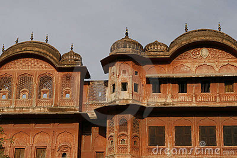 beautiful old building of jaipur pink city india royalty