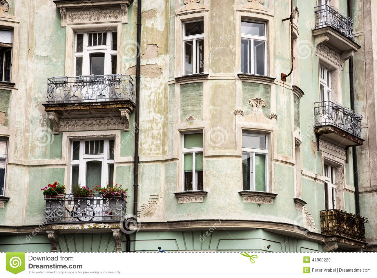 Beautiful old house with balconies stock photo image - Beautiful houses with balcony ...