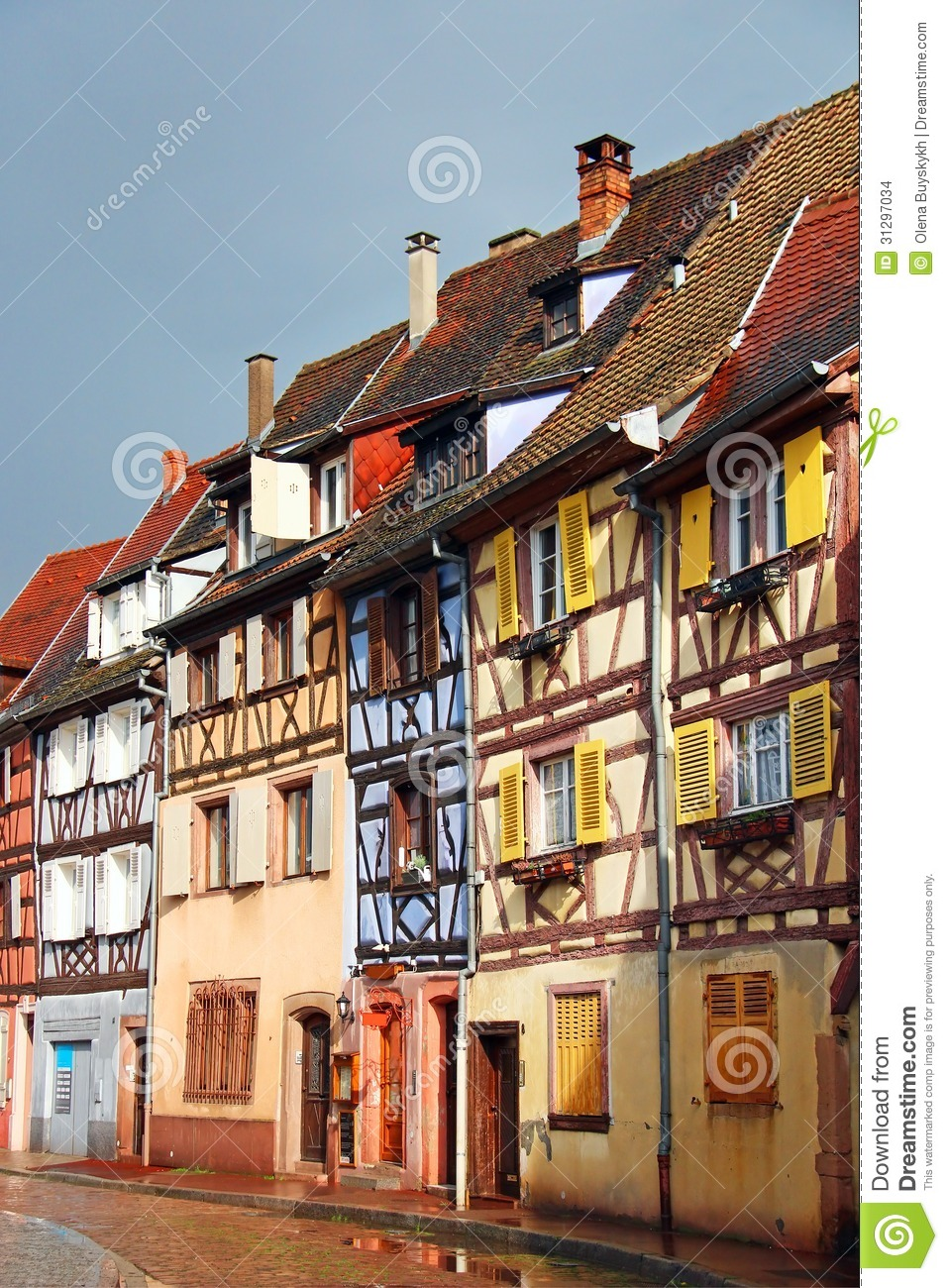 Beautiful Old Houses Downtown Colmar France Alsace