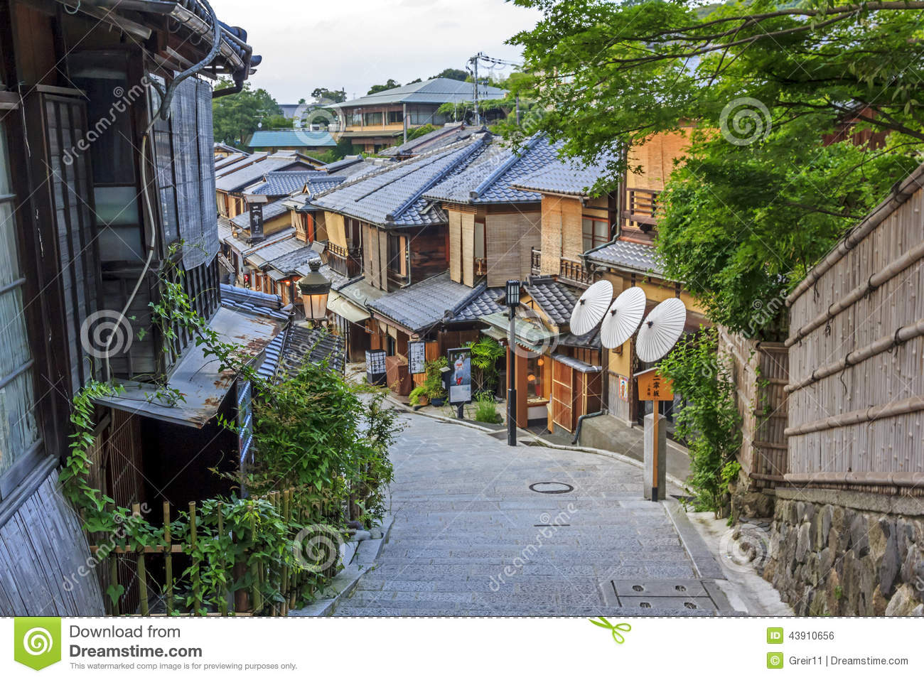 Beautiful Japanese House beautiful old houses in ninen-zaka street, kyoto, japan. editorial