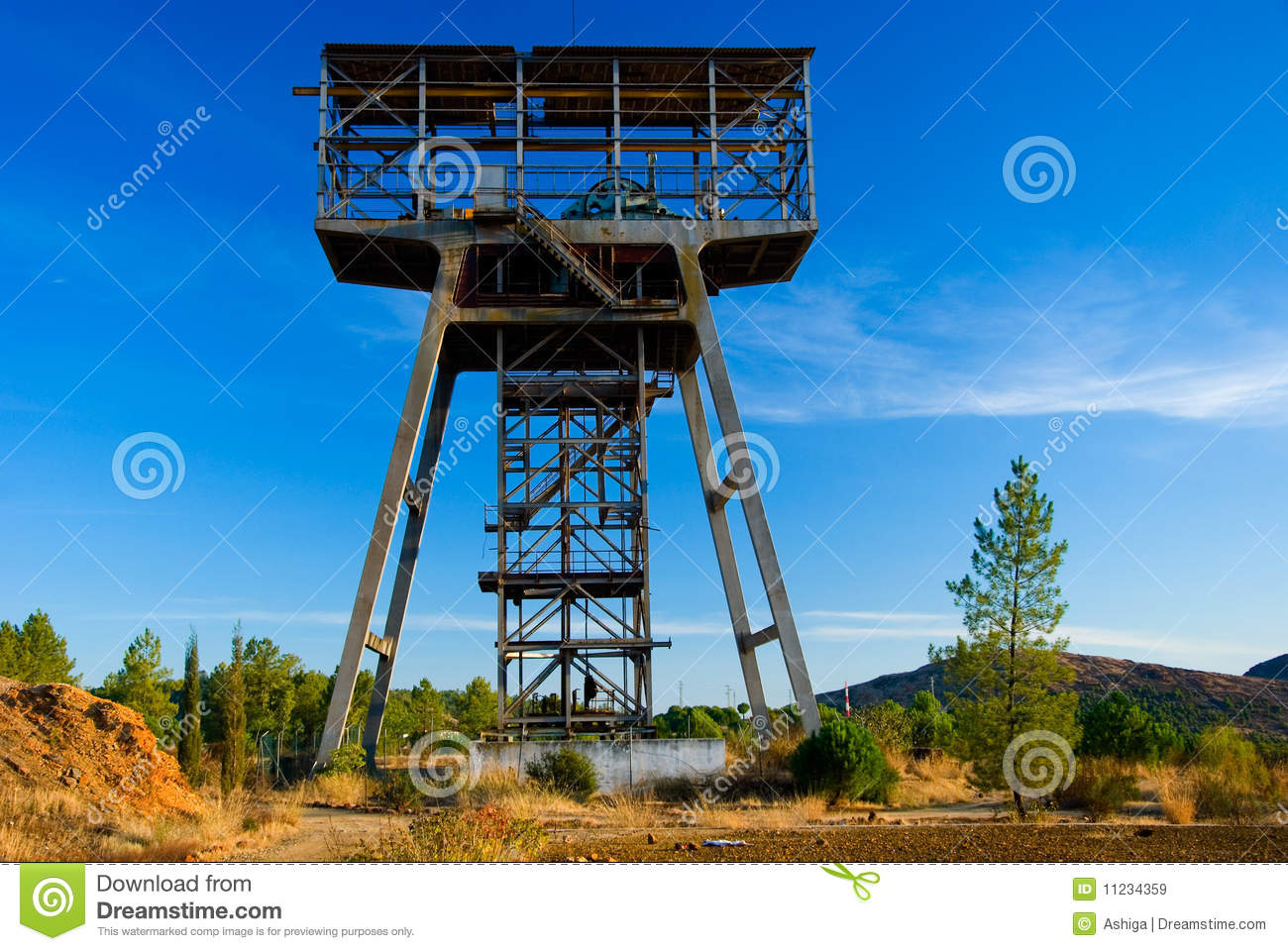 Beautiful old mine tower in Spain.