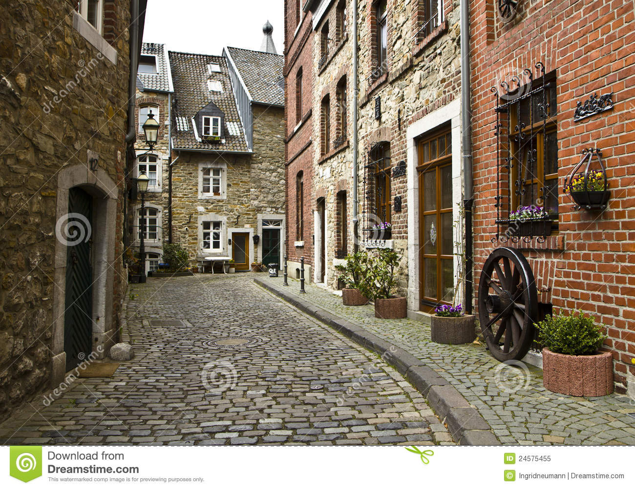 Beautiful Old Street In Germany Royalty Free Stock Photo - Image ...