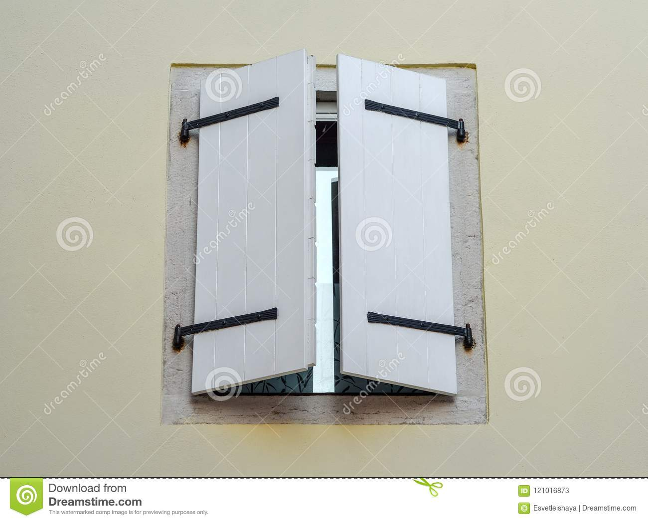 Beautiful Old Window Frame With White Wooden Shutters And Pale White ...