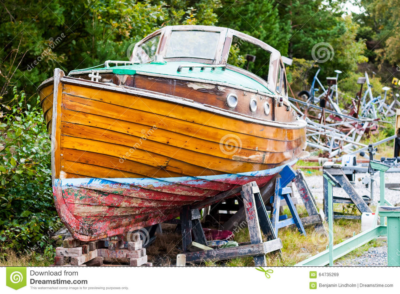 Beautiful Old Wooden Boat In Dry Dock Stock Image - Image ...