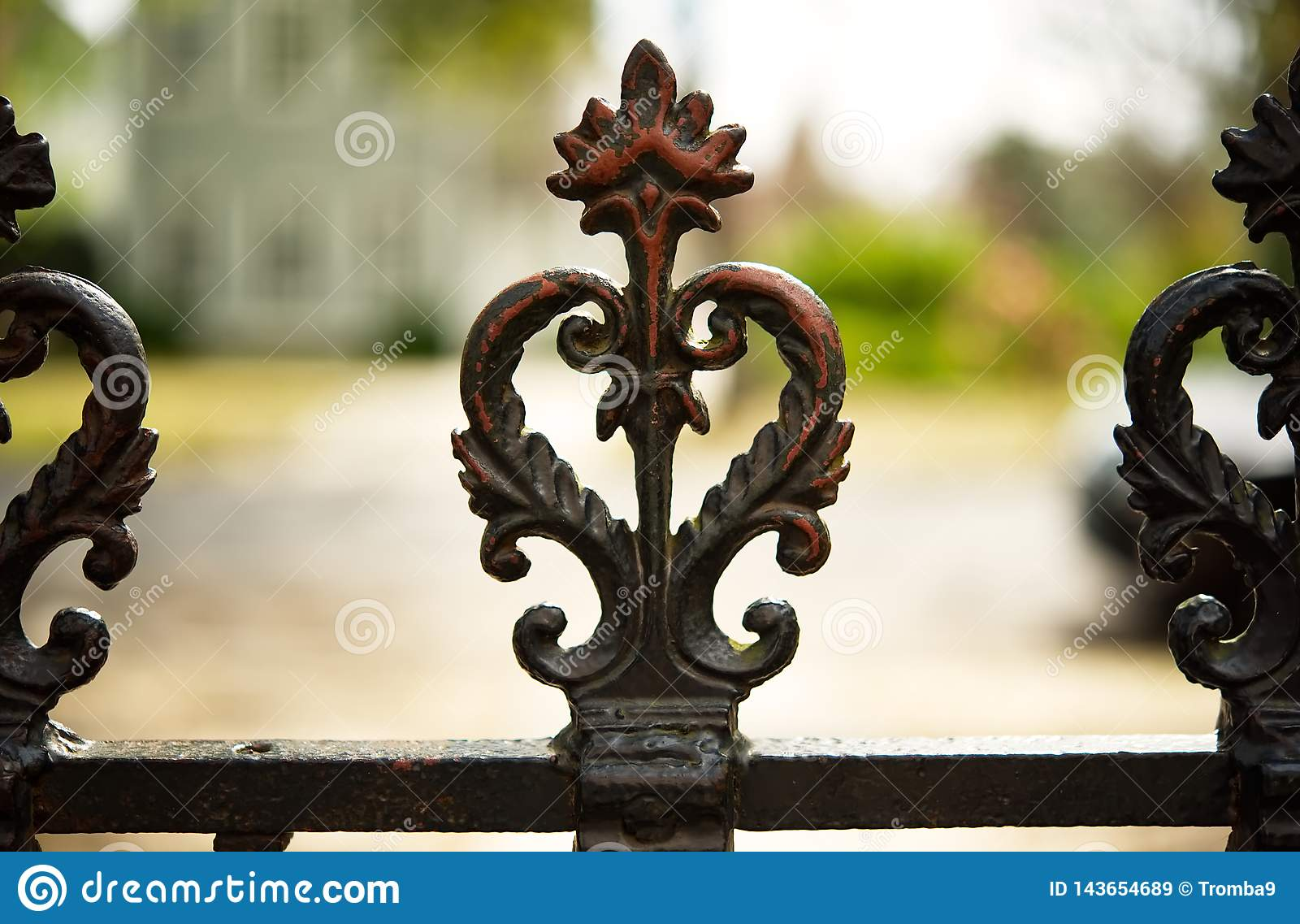 A closeup of the top of a wrought iron fence in Georgetown, SC.