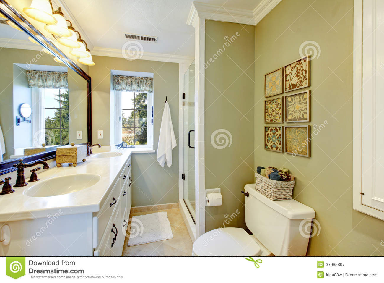 Beautiful olive and white bathroom royalty free stock for Old fashioned bathroom ideas