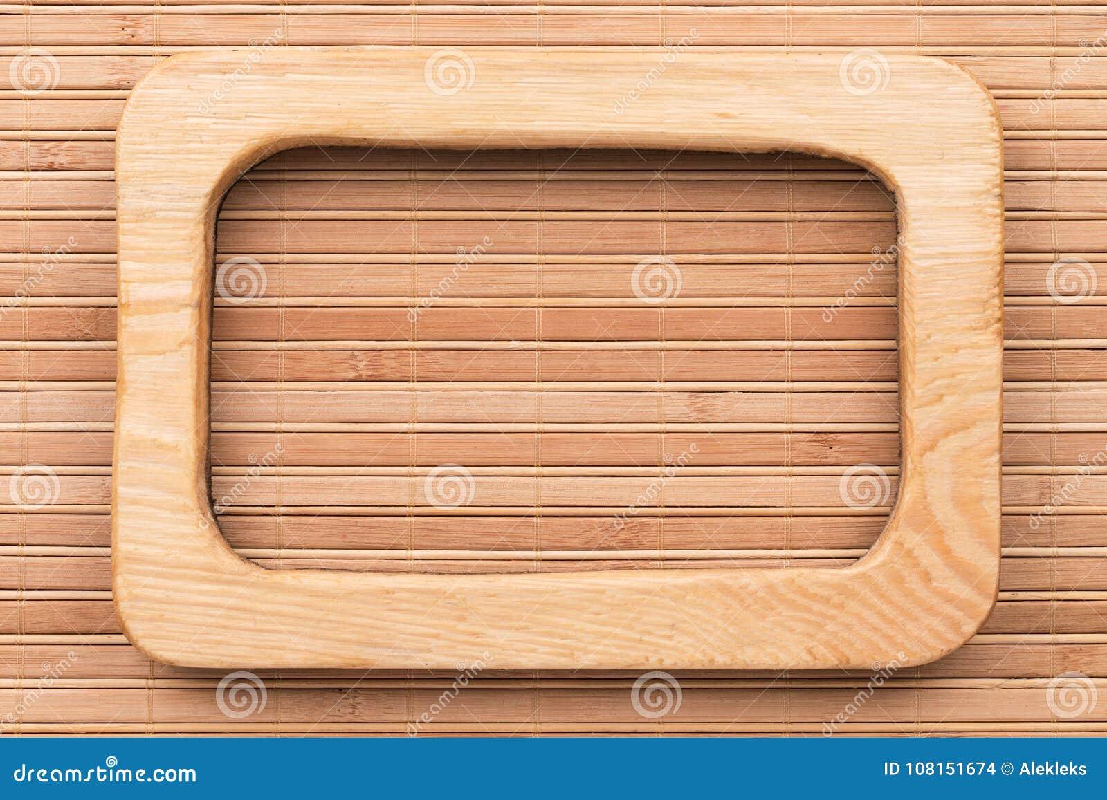 Beautiful One-piece Light Wooden Frame, Lies On Bamboo Mat. Stock ...