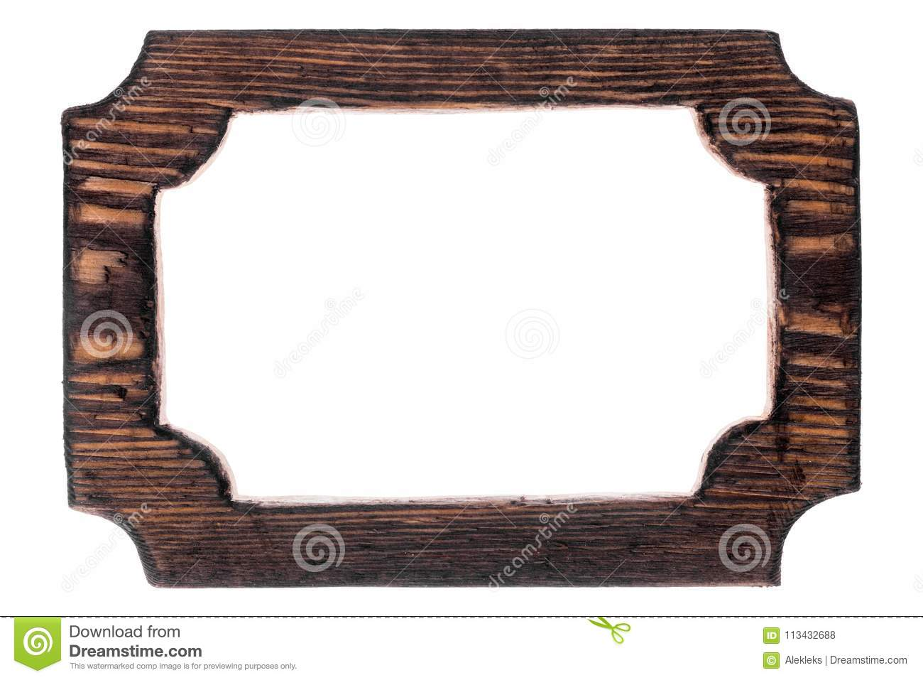 Beautiful One-piece Wooden Carved Frame, Isolated On White ...