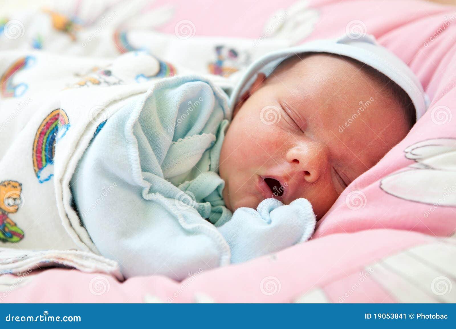 Beautiful One Week Old Baby Boy Asleep Stock Image Image