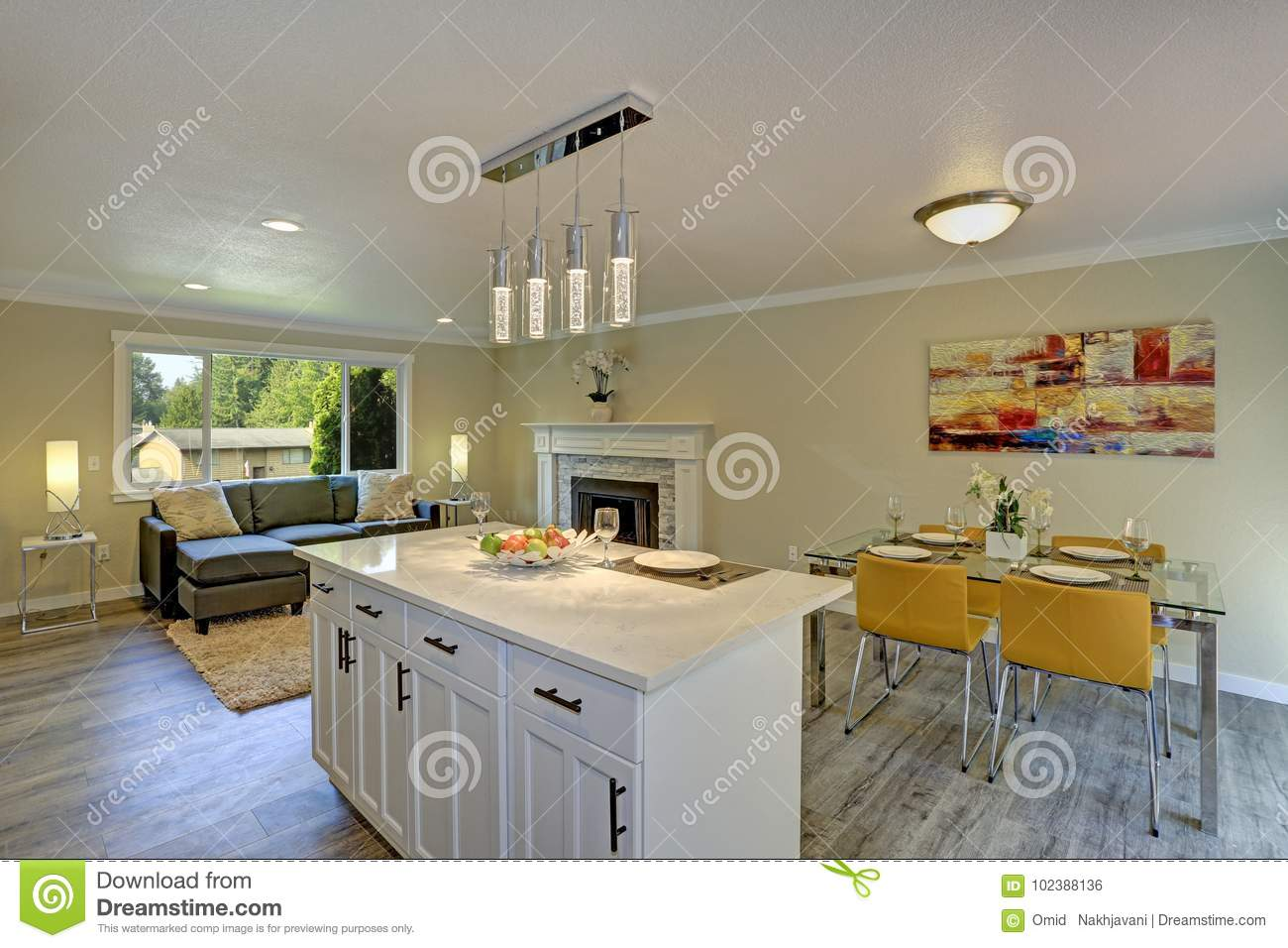 Beautiful Open Plan Second Floor Living Room Kitchen And