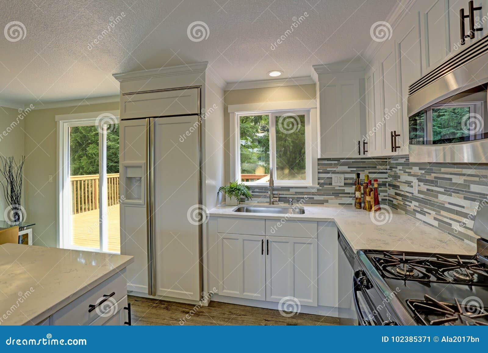 Beautiful Open Plan Second Floor White Kitchen Stock Image Image