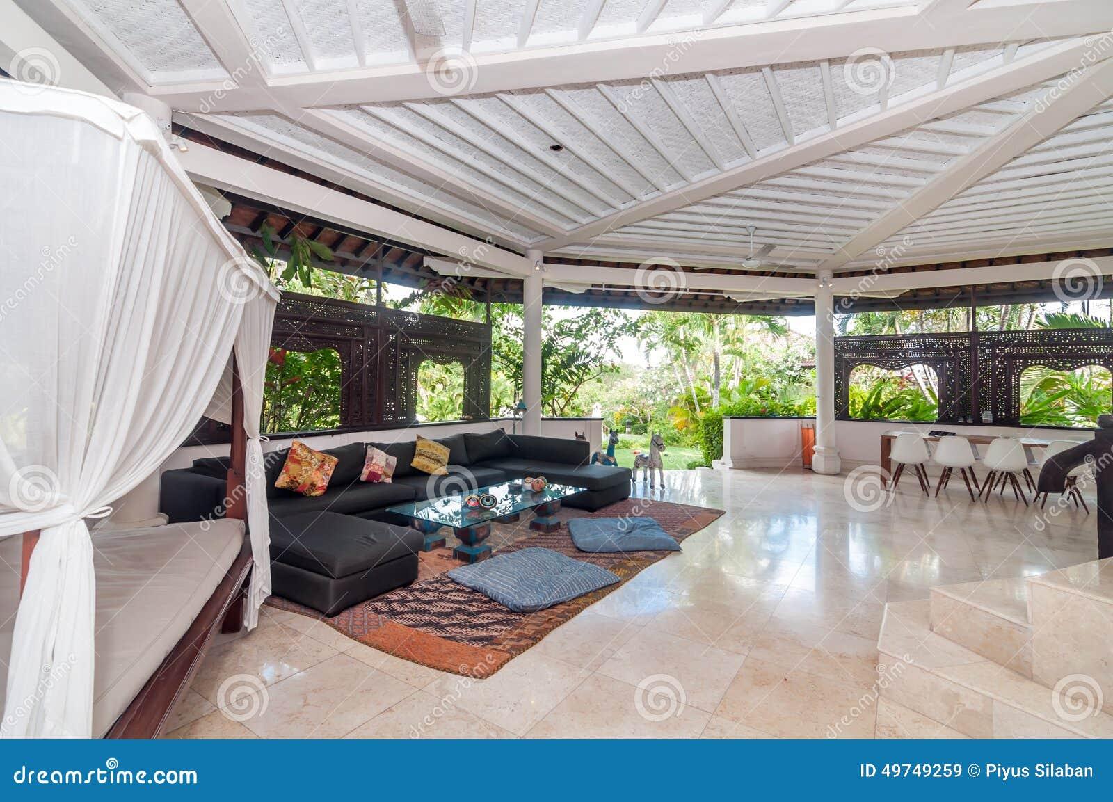 Beautiful And Open Space Interior Villa Room Stock Photo