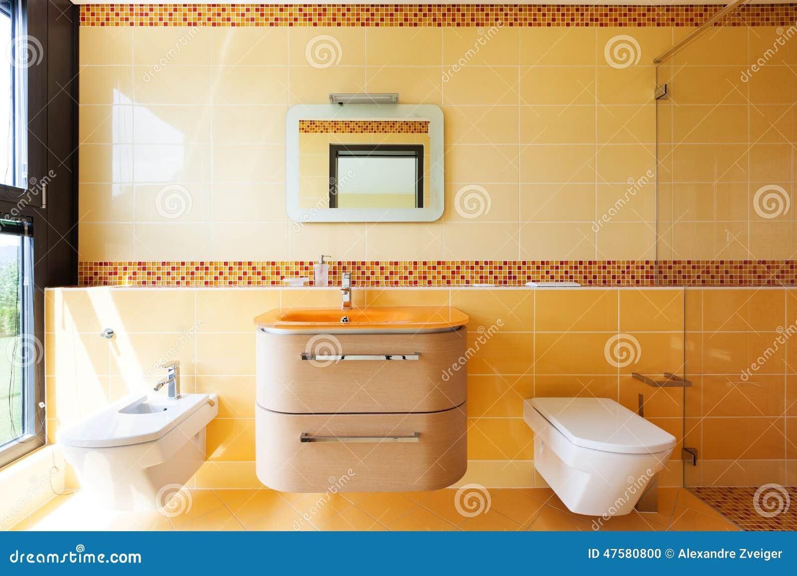 beautiful orange bathroom stock photo - image: 47580800