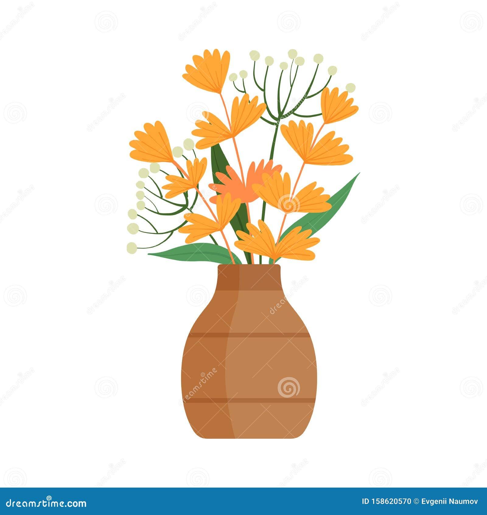 Beautiful Orange Flowers In Clay Vase, Bouquet Of Blooming ...