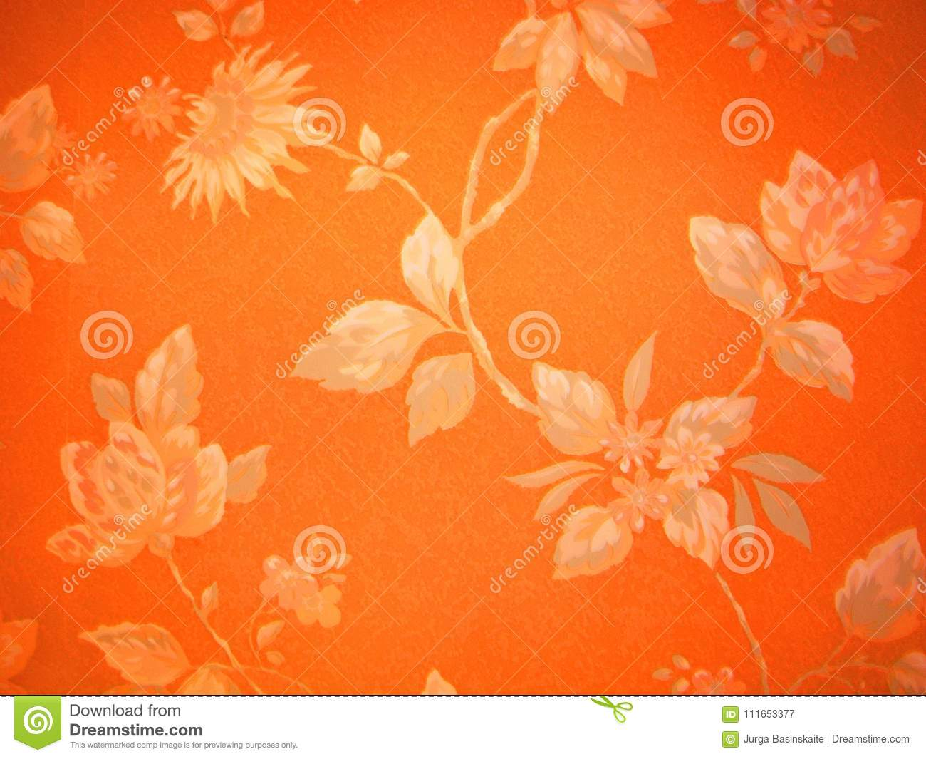 Orange Floral Tapestry Stock Image Image Of Background 111653377