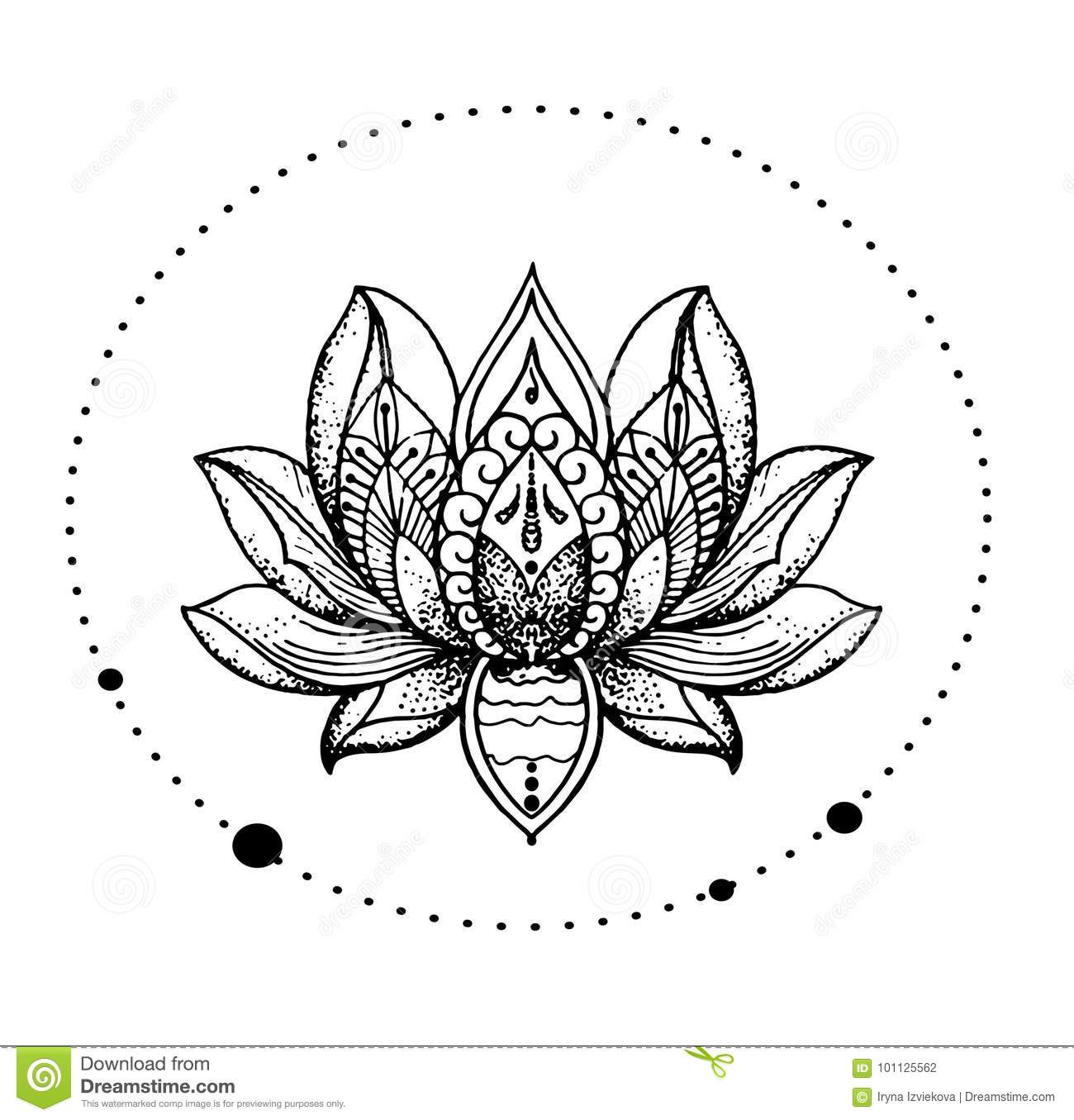 Beautiful Oriental Detailed Lotus Flower Stylish Idea Of Tattoo