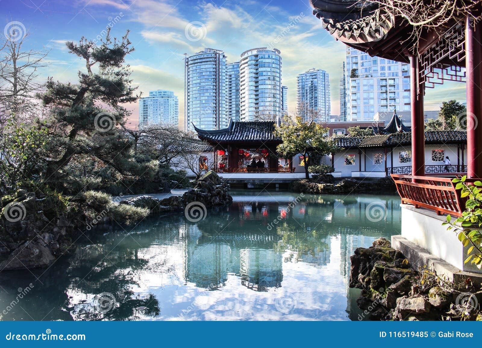 beautiful oriental gardentemple with an amazing sky chinese new yearfestival - Oriental Garden