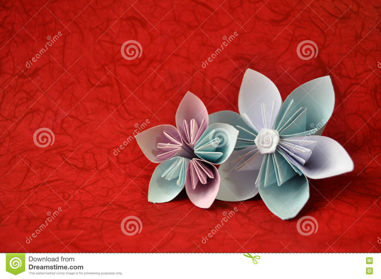 Beautiful Origami Flowers On Red Background Origami Flowers