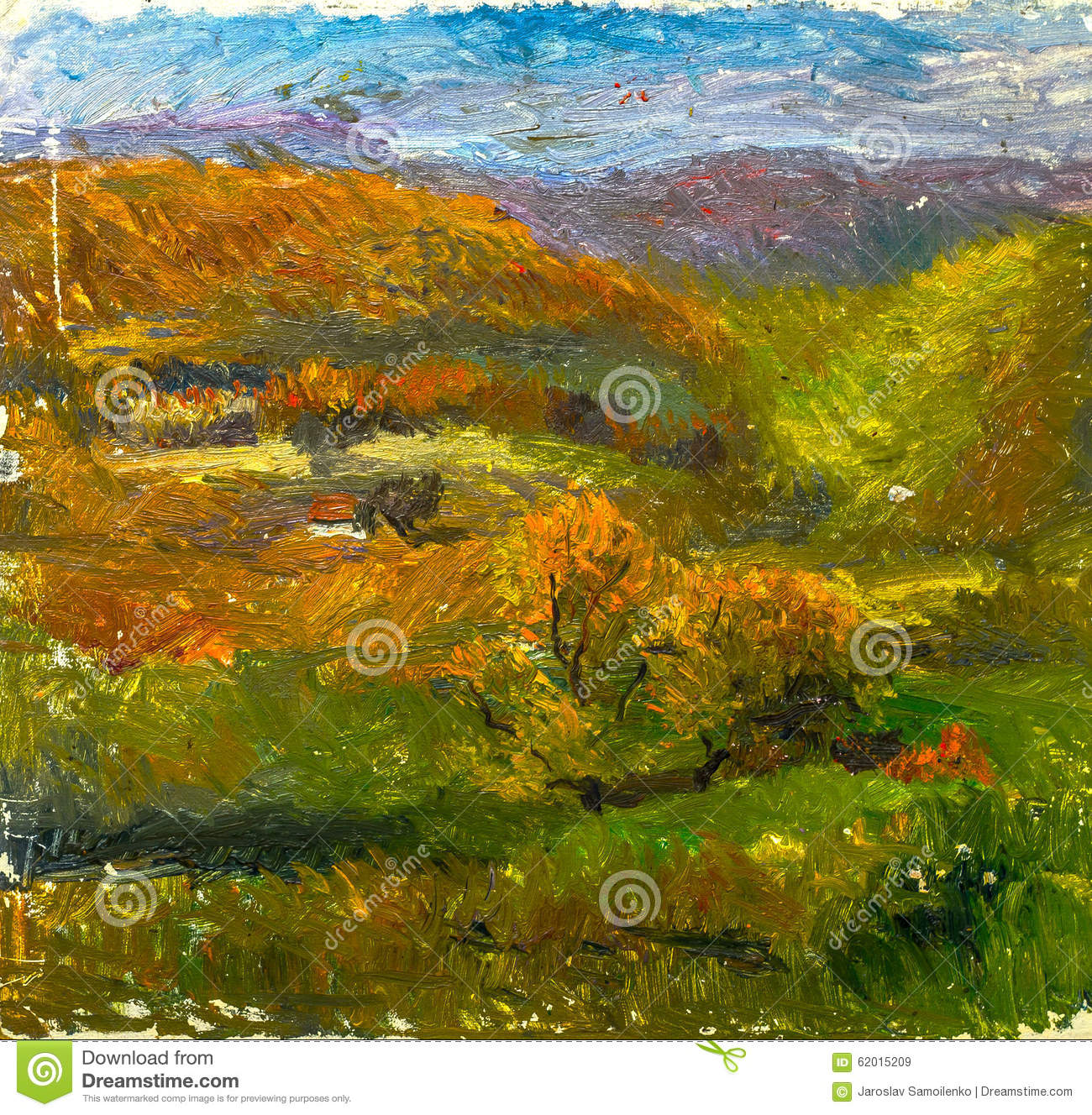 Beautiful original oil painting of autumn landscape on for Beautiful canvas painting