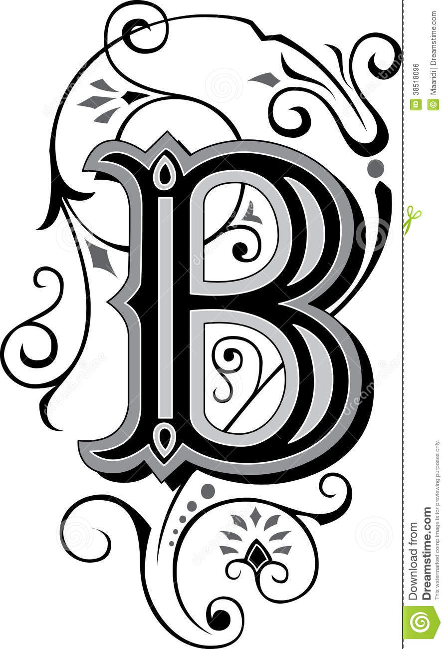 beautiful ornament letter b