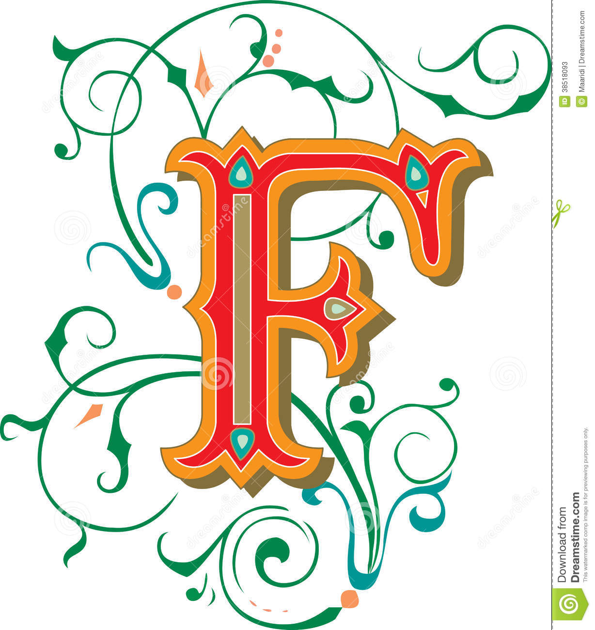 Beautiful Ornament Letter F Stock Photos