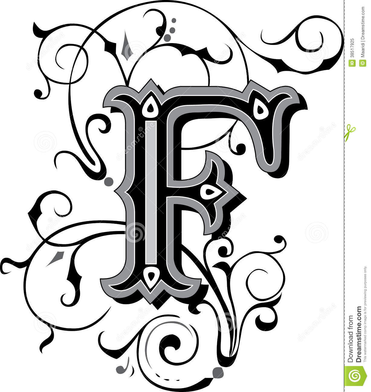 Beautiful Ornament, Letter F Royalty Free Stock Photo - Image ...