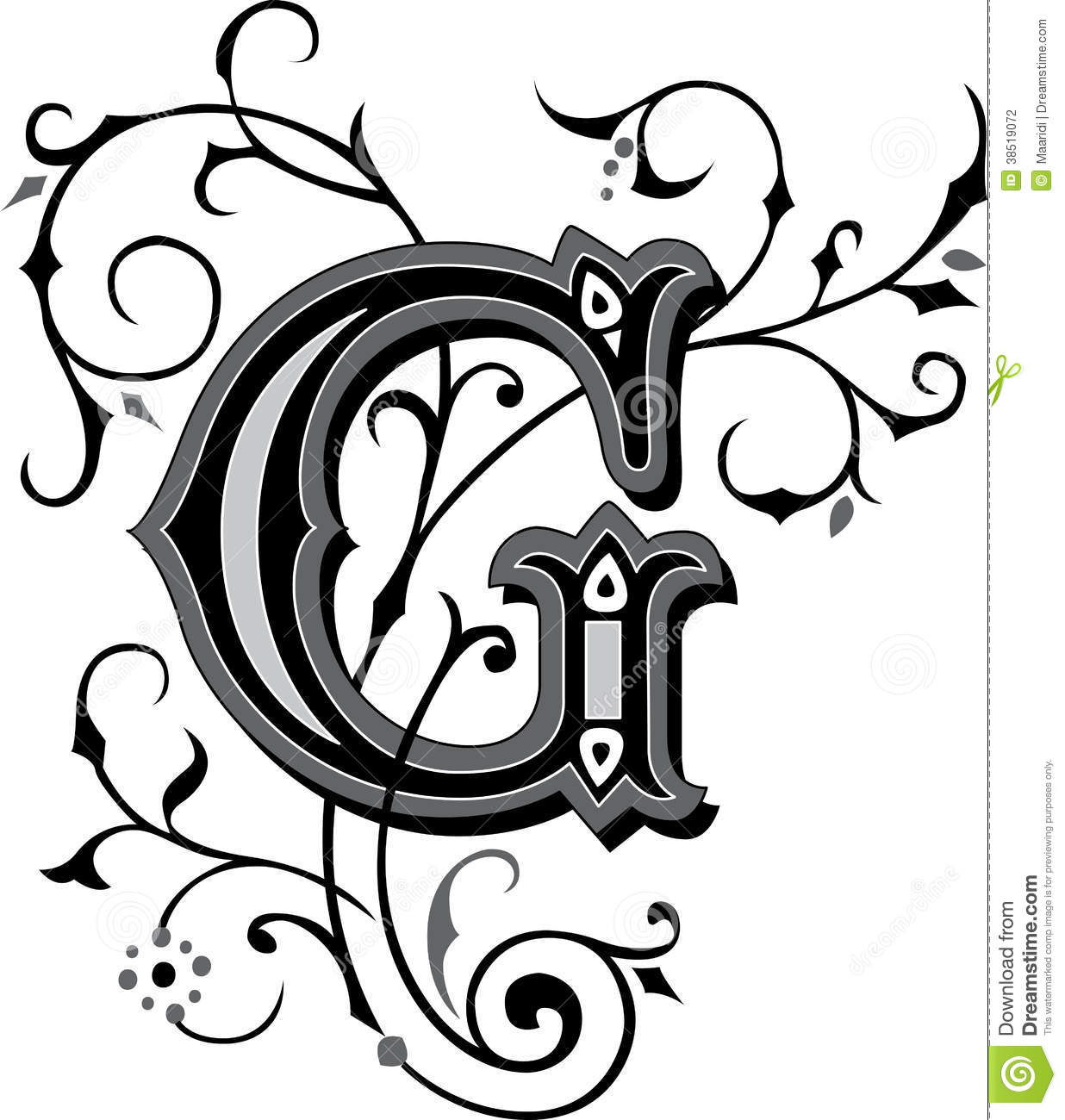 beautiful ornament letter g stock photography