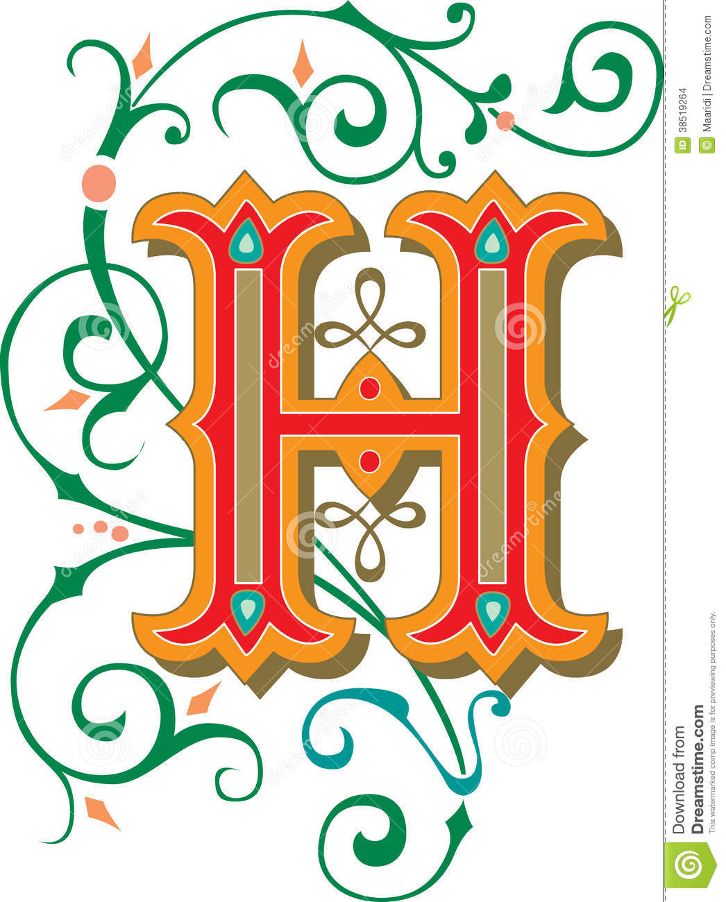 Beautiful Ornament Letter H Stock Vector Illustration Of Graphic