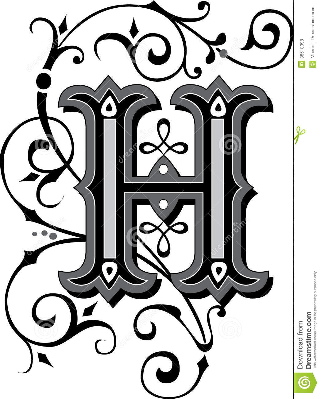Beautiful Ornament Letter H Stock Vector Illustration Of