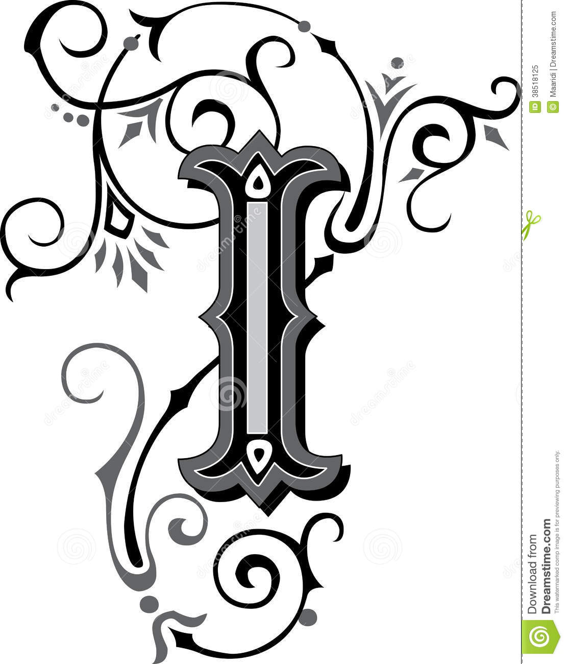 beautiful ornament letter i